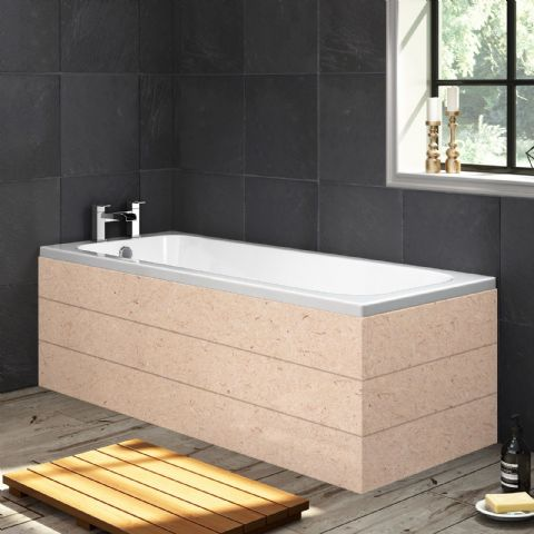 Paintable Planked Style MDF 1 Piece Bath Panels